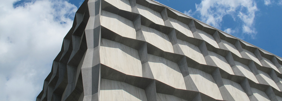 A detail of Beinecke Plaza