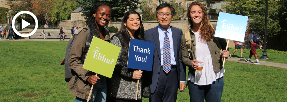 Dean Marvin Chun and students at Elihu Day