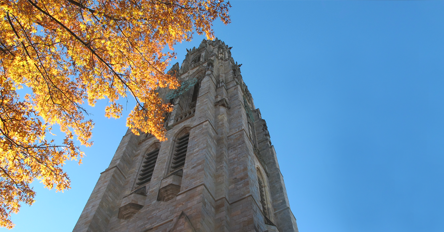 Harkness Tower in the fall